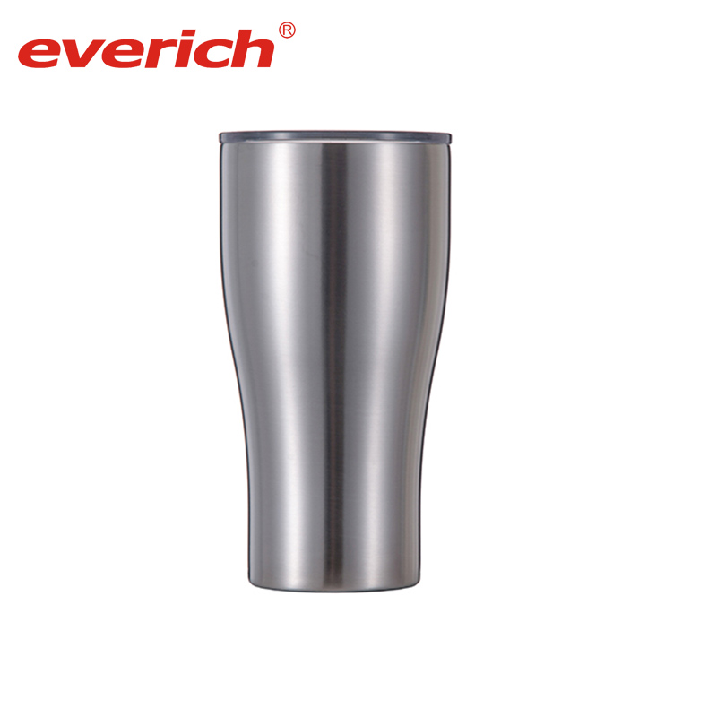 Everich Double Wall Stainless Steel Metal Bottle Coffee Mug with Plastic Lid