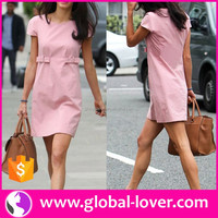 wholesale women designer elegant pink office straight dress turkish clothes brands