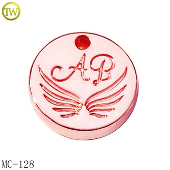High quality metal round tags necklace pendants charms with logo