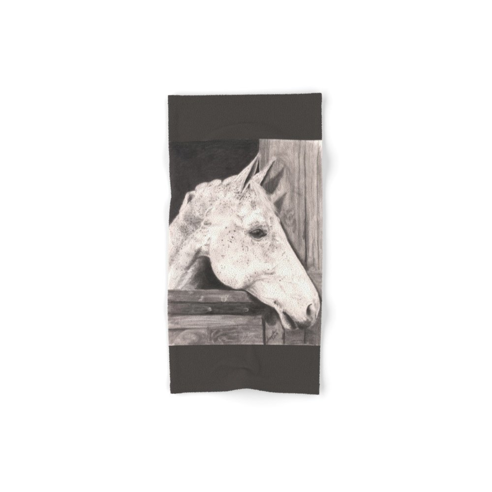 "Society6 White Horse. Hand Towel 30""x15"""