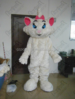 pink bow and ear white cat mascot costumes
