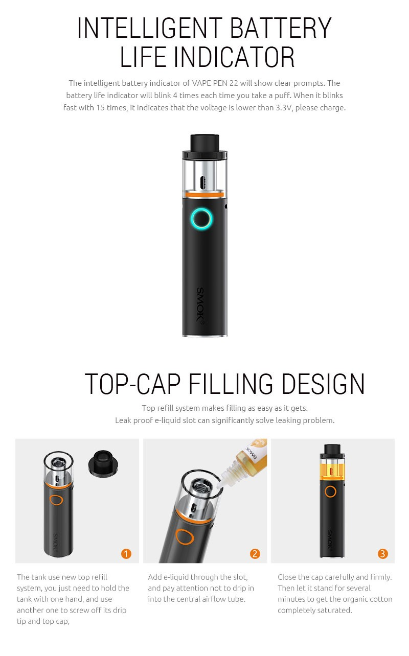 Built-in 1650mah Vape Pen battery SMOK Vape Pen 22 Kit top-cap filling  atomizer big vapor no leaking, View smok vape pen, SMOK Product Details  from