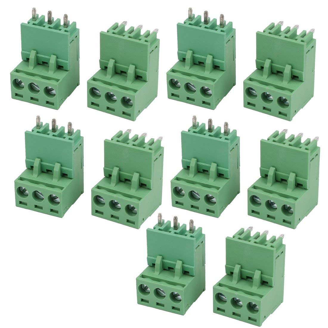 uxcell 10 Sets AC 300V 10A 5.08mm Pitch 3P PCB Terminal Block Female Male Wire Connector