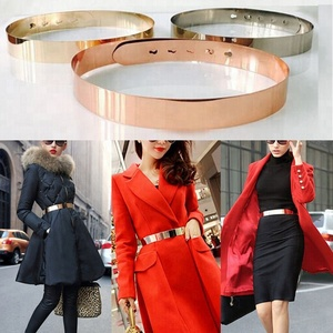 Fashion Women Adjustable Metal Waist Belt Metallic Bling Gold Silver Color Plate Vintage Lady Simple Belts
