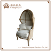 Rustic French Country Style Burlap Linen Upholstered Canopy Chair