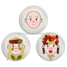 in stock cartoon Ceramic Food Face Plate Factory Direct Food Face Kid's Dinner Plate ,kids Dishes & Plates