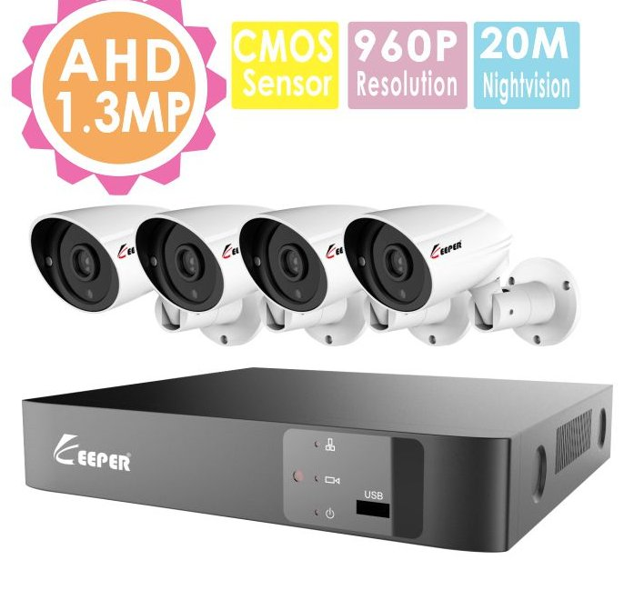 Security System 4ch dvr kit 960p 1.3 mp waterproof camera kit cctv