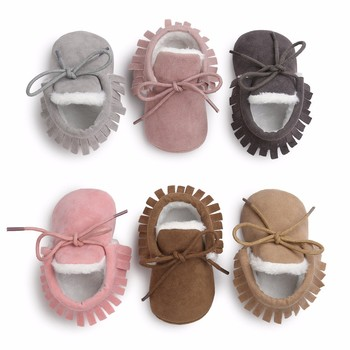 Toddler Baby Moccasins Winter Keep Warm With Fur Snow Lace Up Baby