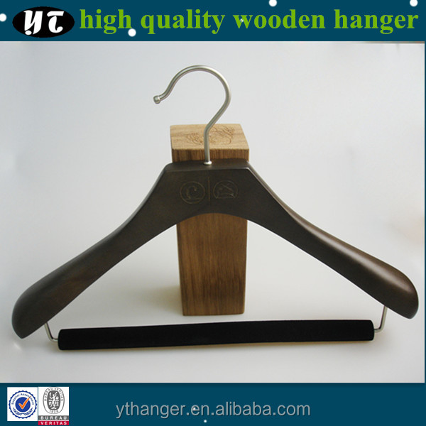 heavy duty and luxury wooden suit hanger with velvet cross-bar