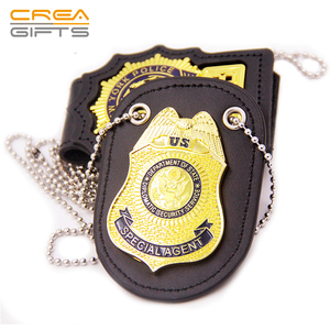 High Quality Custom Metal 3D Gold Officer Military Badge With ID Leather Holder