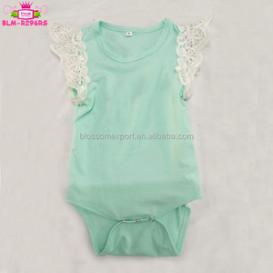 Flutter Sleeve Wholesale Blank Baby Clothes Short Sleeve Toddler Girls Angel Wings White Lace Flutter Romper Baby Onesie