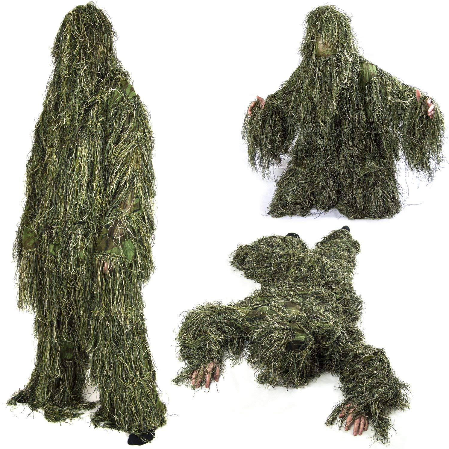 7e645864004d2 Get Quotations · 360 Tactical Outdoor Camo Suits Ghillie Suits 3D Leaves  Woodland Camouflage Clothing Army Sniper Military Clothes