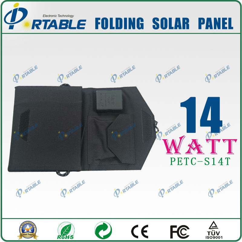 foldable fabric solar panel battery charger 14W high efficiency for phone,laptop free tax