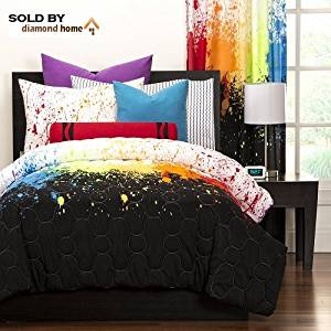 Crayola Crayon Paint Splash 2-piece Comforter Set Twin Kids & Teens, Abstract Graphic Paint Splat Pattern Reversible Bedding, Green Orange Purple Red Black White, Rainbow Colorful and Fun!