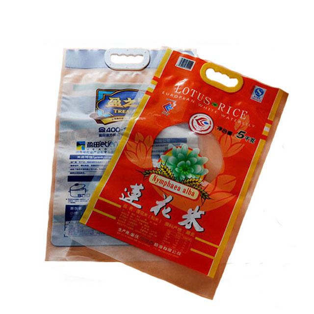 Chất Lượng Cao Nhựa Basmati Gạo Bao Bì Túi Thiết Kế Với In Ấn Trống Tay Cầm Nhựa Gạo Túi Đóng Gói Cho 1Kg 2Kg 5Kg 10Kg