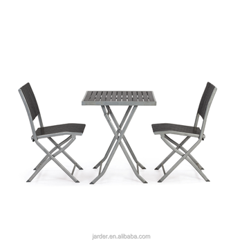 Steel plasticwood foldable dining set
