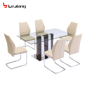 my test hot sale tempered glass wooden stainless steel base dining table