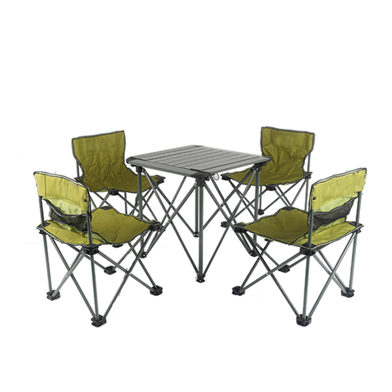 Professional factory 4 seat square portable aluminum camping picnic folding outdoor table set