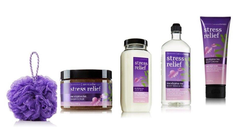 Bath & Body Works ~ Aromatherapy Stress Relief ~ Eucalyptus Tea Fragrance ~ 5 Piece Gift Bundle ~ Shower Sponge ~ Sugar Scrub ~ Luxury Bath ~ Body Wash/foam Bath & Body Cream