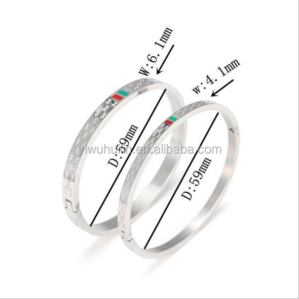MS021 Yiwu Huilin Jewelry New Designs Engraved Titanium steel Cuff Korean Couple Bracelet For Valentine's day Gift