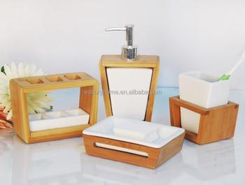 Home decorativo bambù set da bagno di bambù casalinghi e ceramica