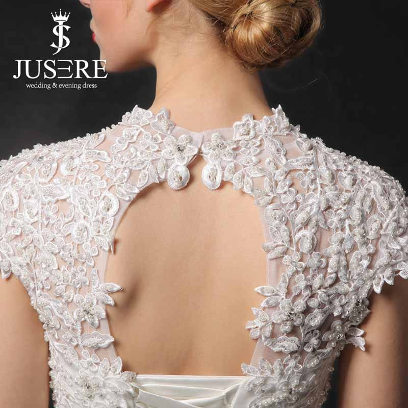 Modesto cuello alto Capsleeve perla de encaje bordado encaje de ...