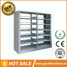 Heavy Duty Steel Storage Double Side Metal Library Bookshelf