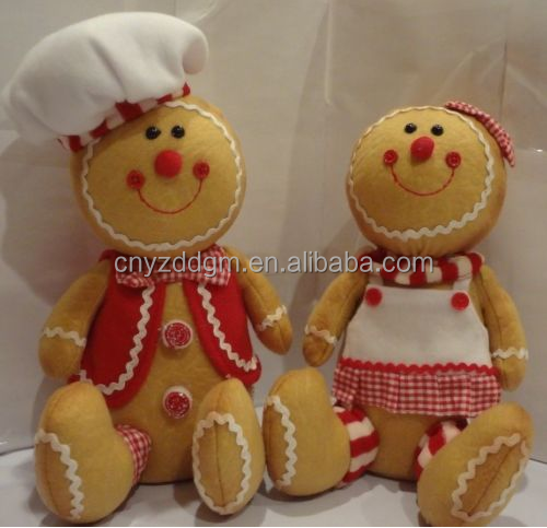 cute plush suffed ginger man with cook clothes toy/custom plush ginger man toy