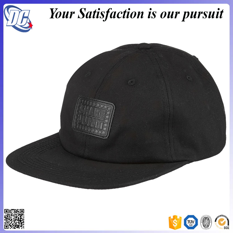 Customize Embossed Logo Unconstructed 6 Panel Cap Leather Strap ... 3c2f75f9329
