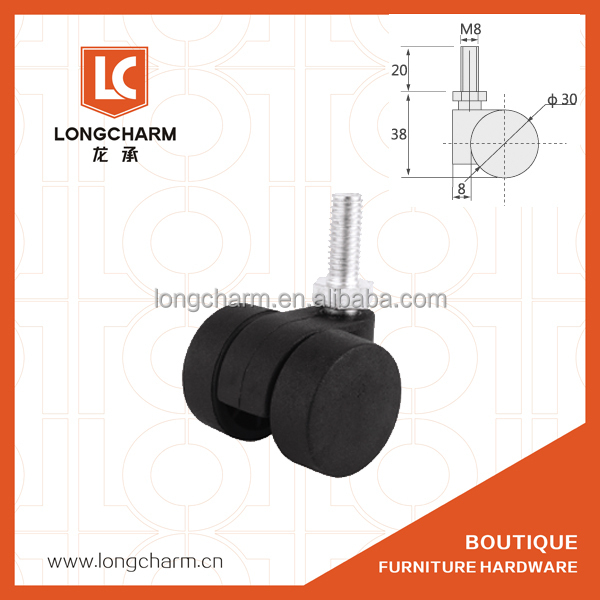 chair caster with thread 1 inch fixed caster black nylon furniture castor from Guangzhou Hardware