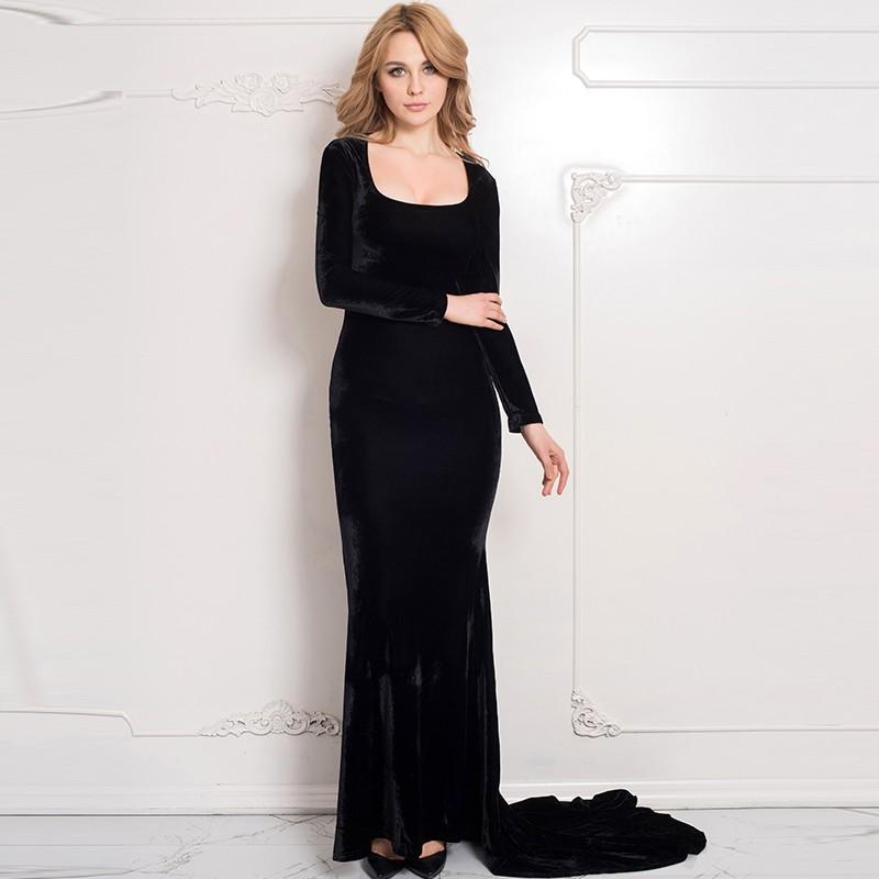 Hot Jual Terbaik Desain Lengan Panjang Hitam Gaun Malam Elegan Panjang Buy Gaun Malam Panjang Black Sexy Panjang Evening Dresses Pakaian Wanita