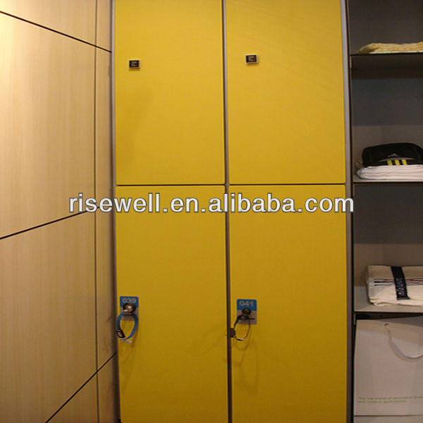 High quality Waterproof L-shaped wooden HPL compact laminate storage locker for golf course/changing room