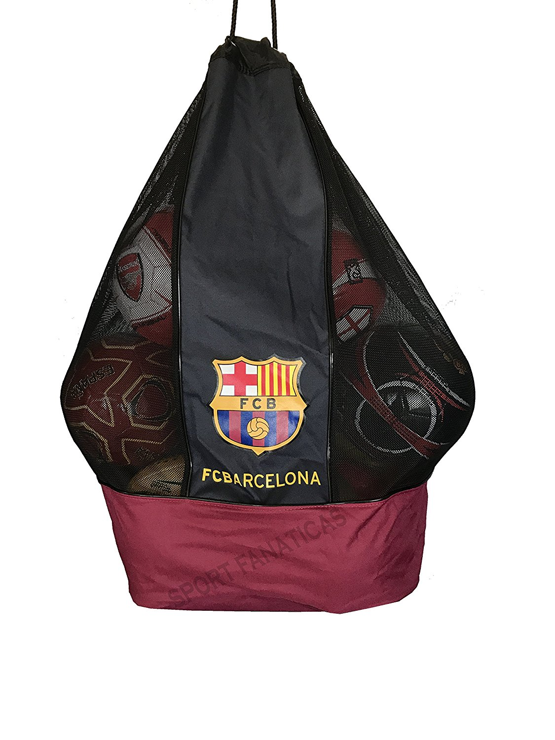 fbcc1c5c7 Get Quotations · FC Barcelona Nylon Mesh Drawstring Sports Equipment Ball  Bag Large Sack with Shoulder Strap for Practice