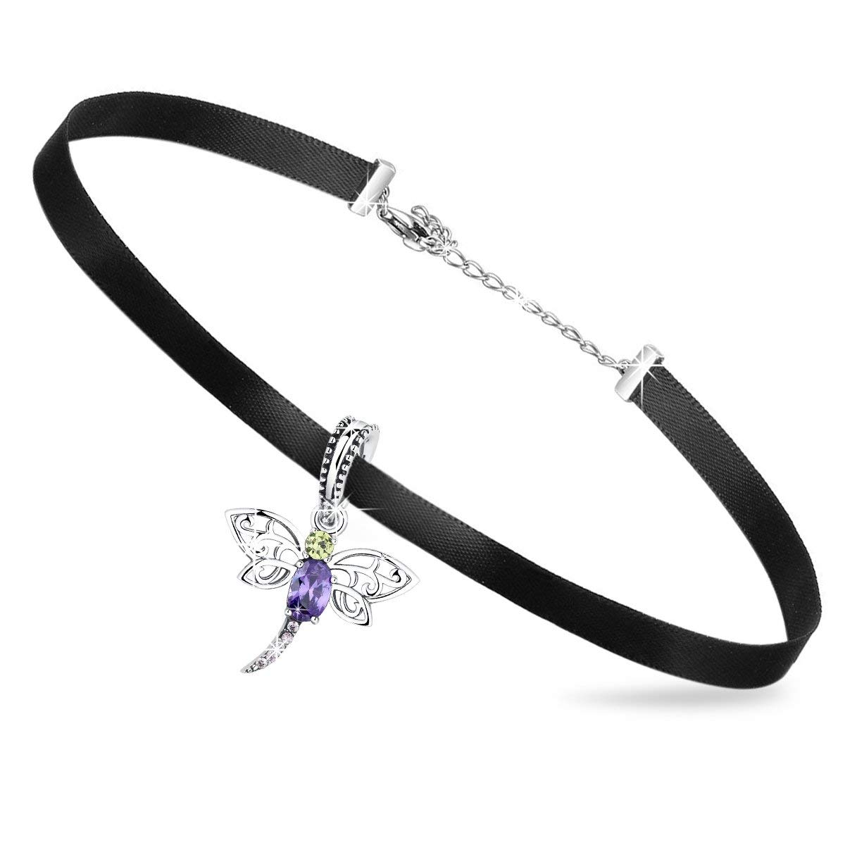 512265909 Get Quotations · Forever Queen Choker Necklace for Women Girls with 925  Sterling Silver& Romantic Clear CZ Lovely Dragonfly