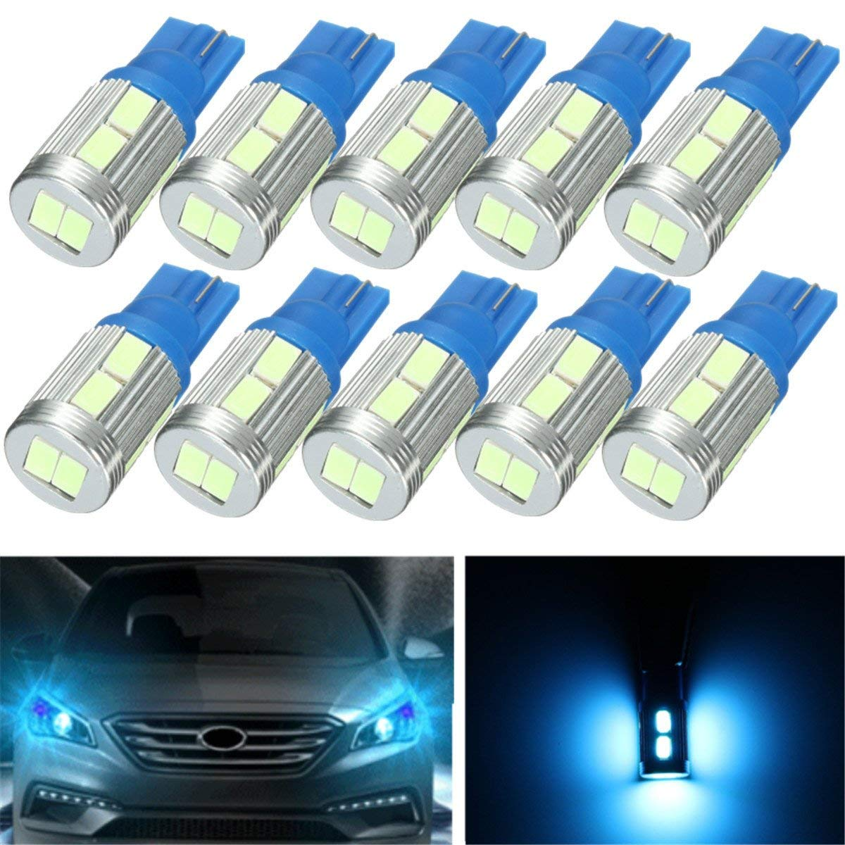 Fincos 10Pcs Ice Blue 20Lm 2.3W 0.17A T10 5730 LED Side Indicator Lamp Light