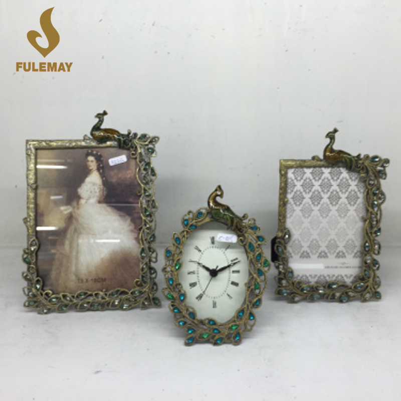 Retro Vintage Peacock Photo Frames Home Decor Gem Metal Alloy Picture Frame