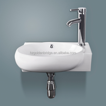 Corner Wall Mount Bathroom Porcelain Ceramic Small Vessel Sink With