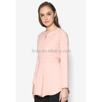 OEM Factory price newest islamic tunic pleat design pink blouse muslimah