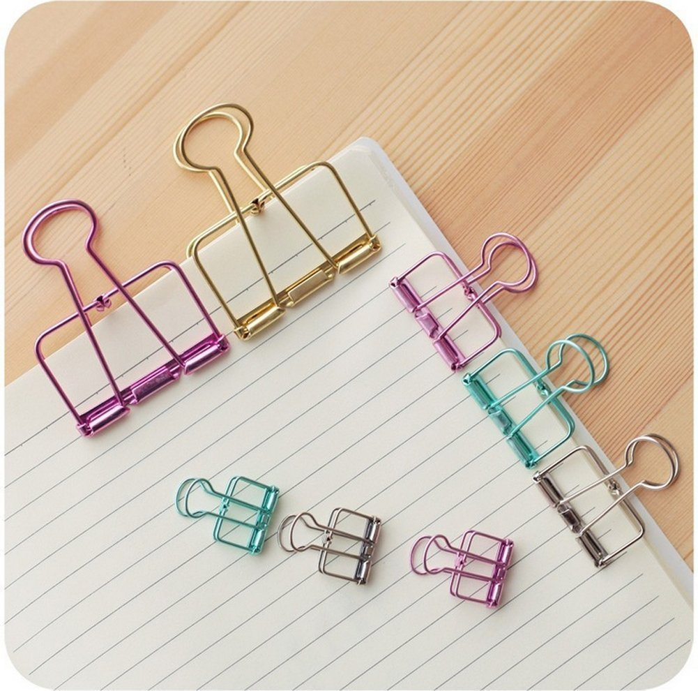 HOBAO Multifunction Paper clips- 24Pcs Assorted Organize Mini Metal Binder clips/ Random Color Cute Steel Wire Binder Paper Clips for Office/School/Home Supplies (3 Sizes and 8 Colours)
