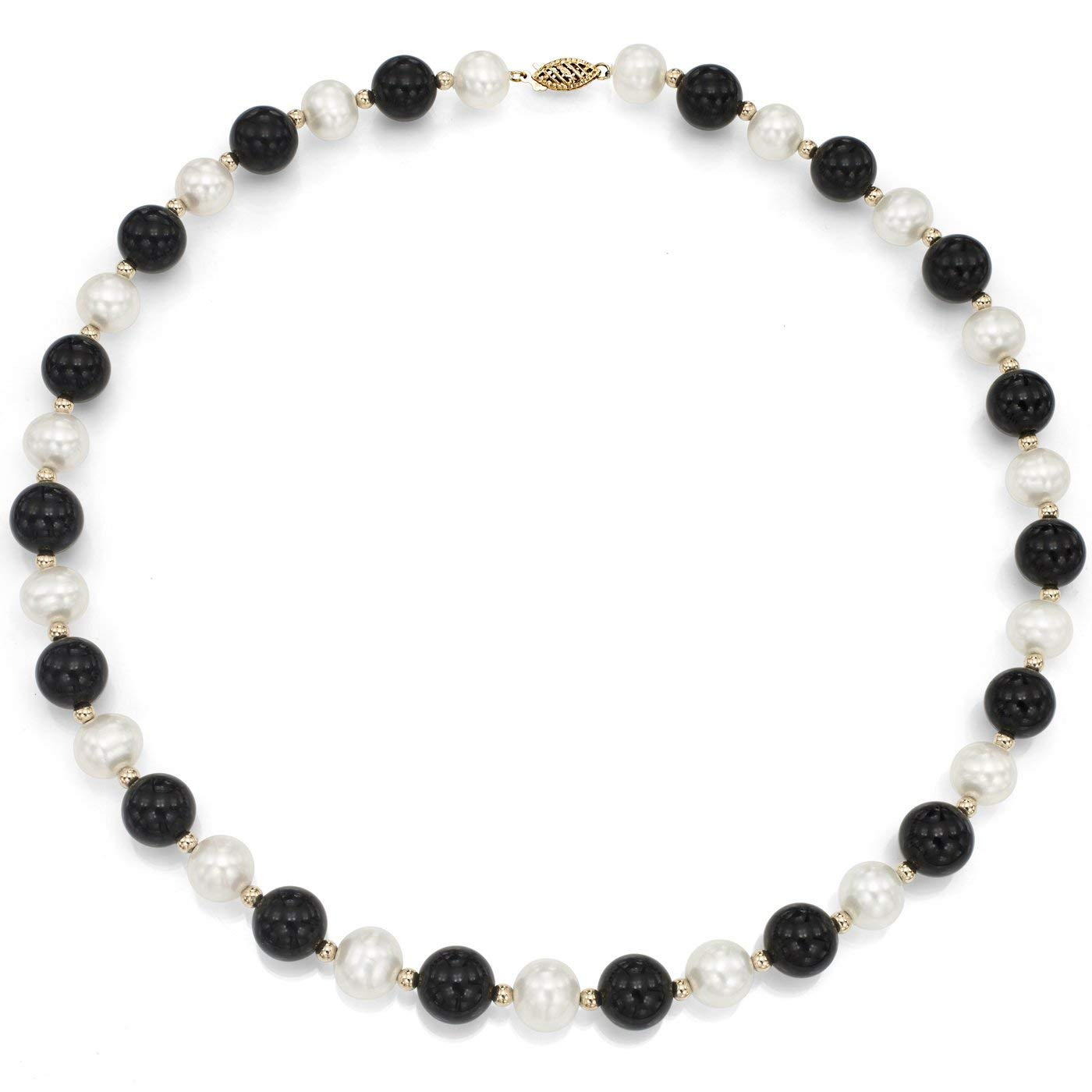 """La Regis Jewelry 14K Yellow Gold 9-9.5mm White Freshwater Cultured Pearl 8mm Simulated Onyx Strand Necklace, 18"""""""