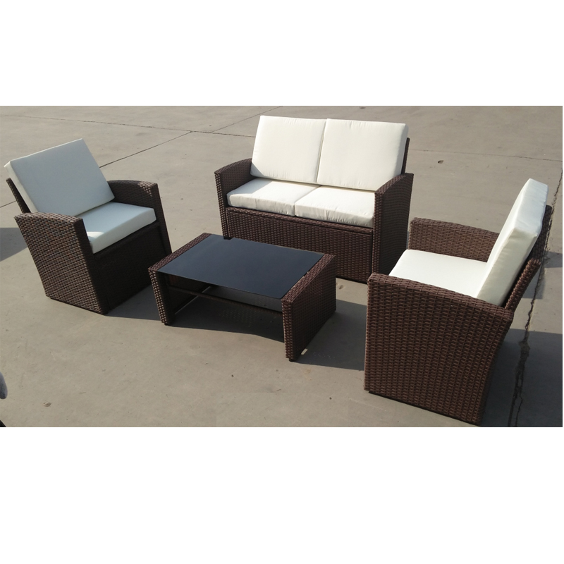 All Weather 4 Pcs Sofa Wicker Sectional Rattan / Wicker Sofa Set