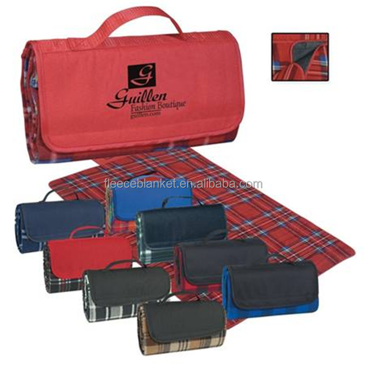 promotional plaid printed waterproof outdoor picnic blanket
