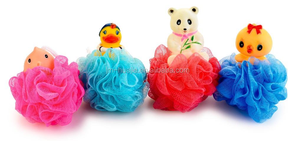 Custom Animal Shaped Massage Yellow Loofah Sponge Bath Washing Shower  Sponges Ball Kids Bath Pouf Wholesale