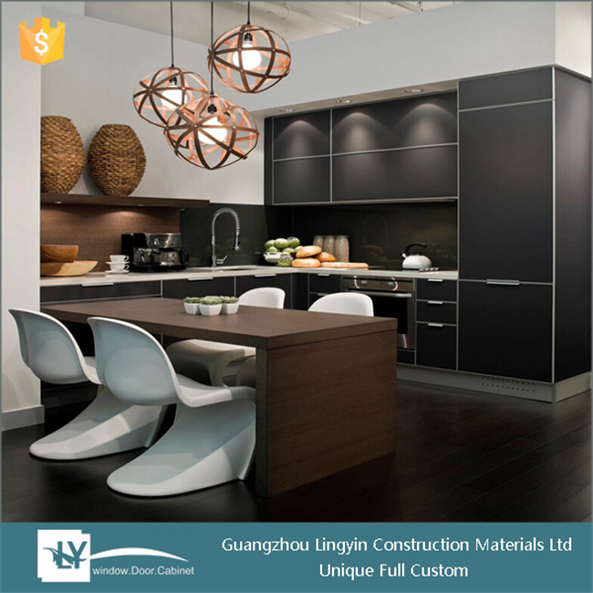 2016 modern Brown and black lacquer kitchen set cabinet design