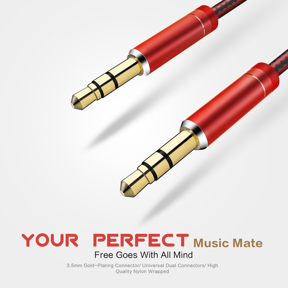 LDNIO LSY01 3.5mm Audio Cable 3.5mm Jack Male to Male Aux Cable For Car iPhone 8 7 6S Headphone Stereo Speaker cable Aux Cord