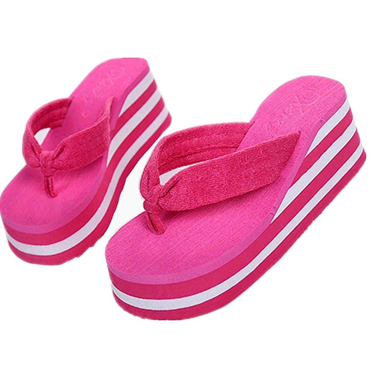 c6d80ccaac7268 Get Quotations · Voberry Women Sandal Platform Wedges Flip Flops beach  Sandal Thong