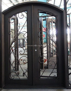 Full Glass Door With Eyebow Top Double Wrought Iron Door Widely Used In USA  Market