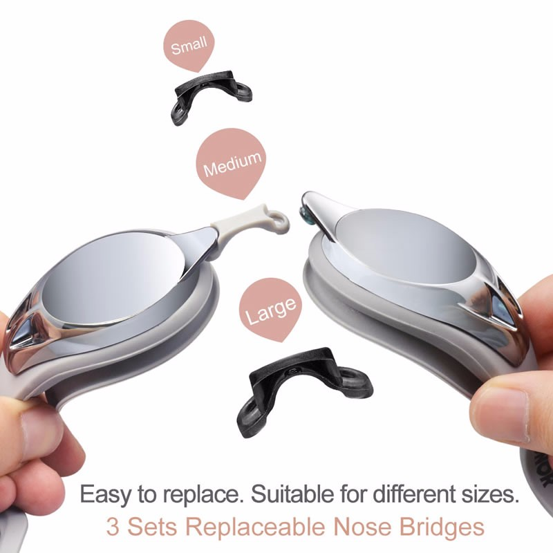 Silicone Swim Goggles with Anti-fog Mirror Coating Lens Interchangeable Nose Bridges Pieces for Adult G4