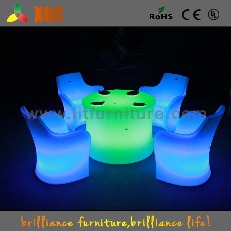 Modern Led Buffet Table And Chair Sets Plastic Light Up