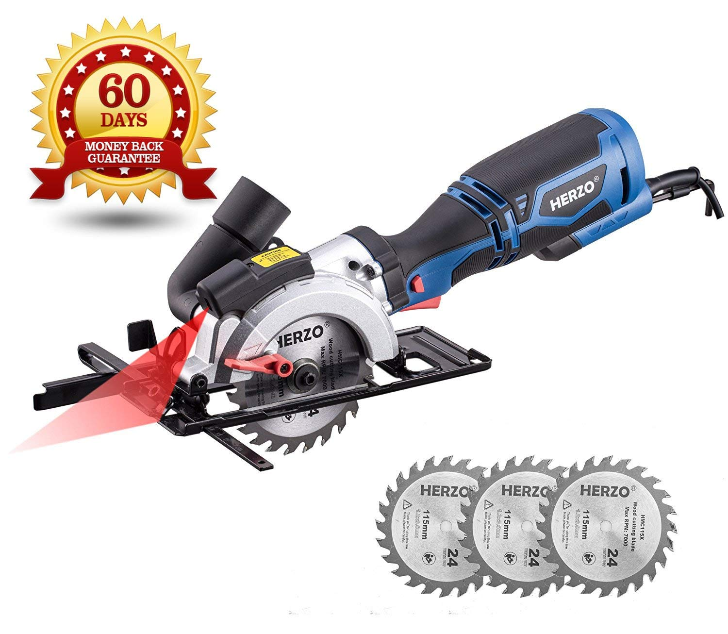 "HERZO Compact Circular Saw 4-1/2"" with Laser Guide, Max Cutting Depth 1-9/10'' (90°), 1-3/10'' (0°-45°) with 3 Wood Cutting Blades - 5.8A 3500 rpm"
